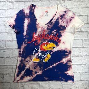 Custom KANSAS JAYHAWKS Acid Tie Dye Splatter Top